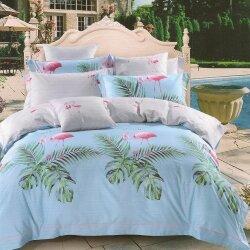 Комплект постельного белья Flamingo and Leaves (двуспальный-евро)