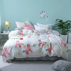 Комплект постельного белья Pink Unicorns (двуспальный-евро)
