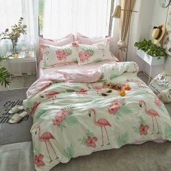Комплект постельного белья Flamingo in Flowers White (двуспальный-евро)
