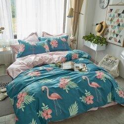 Комплект постельного белья Flamingo in Flowers Blue (двуспальный-евро)