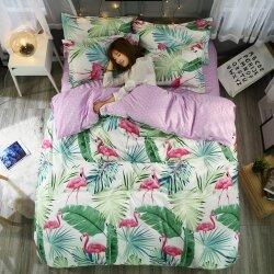 Комплект постельного белья Flamingo in Greenery (двуспальный-евро)
